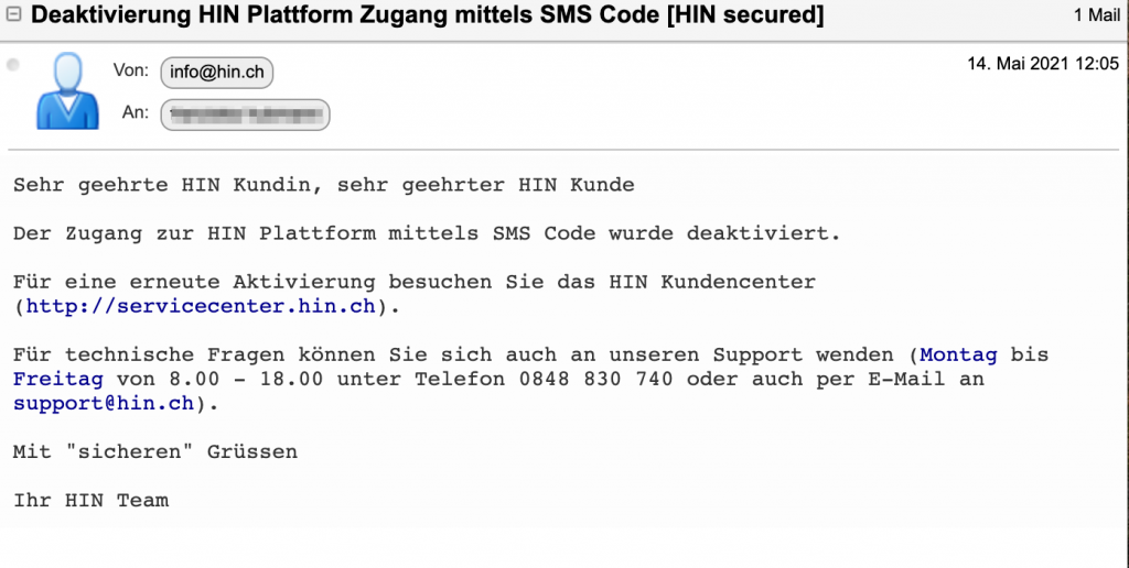HIN Identität: SMS Code deaktivieren